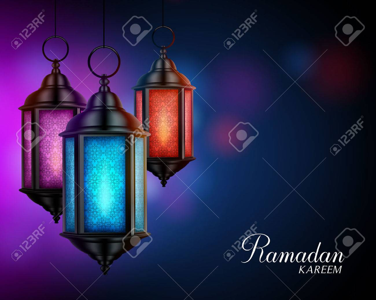 Ramadan Kareem Greetings with Colorful Set of Lanterns or Fanous in a Dark Glowing Background. 3D Realistic Vector Illustration - 56152489