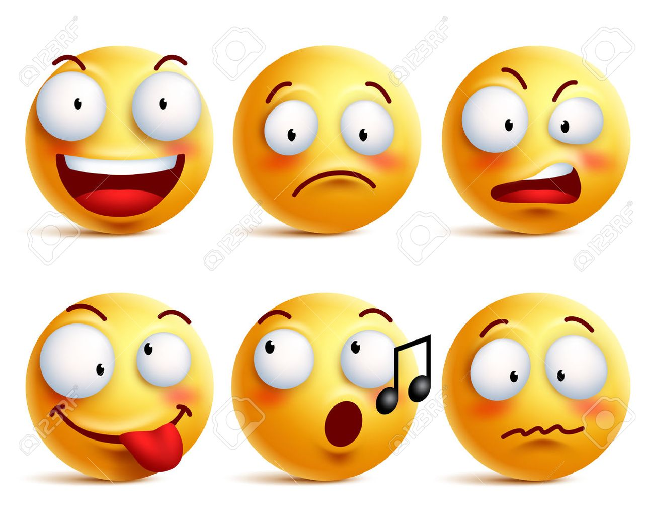 Smiley face icons or emoticons with set of different facial expressions in glossy 3D realistic isolated in white background. Vector illustration - 56696637
