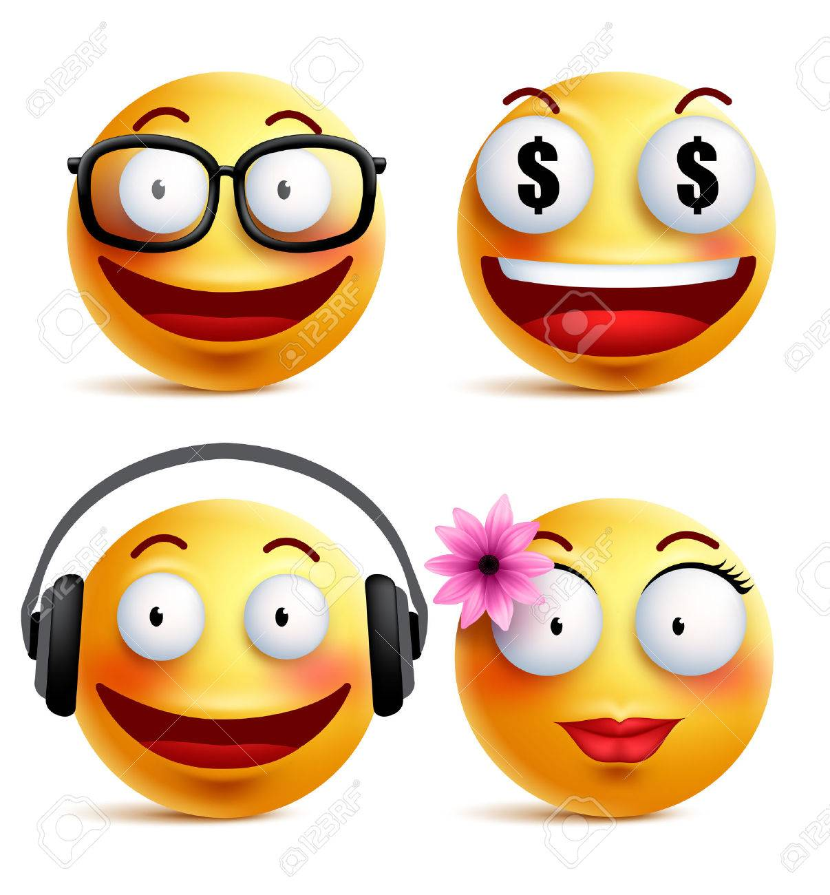 emoji yellow emoticons or smiley faces collection with funny