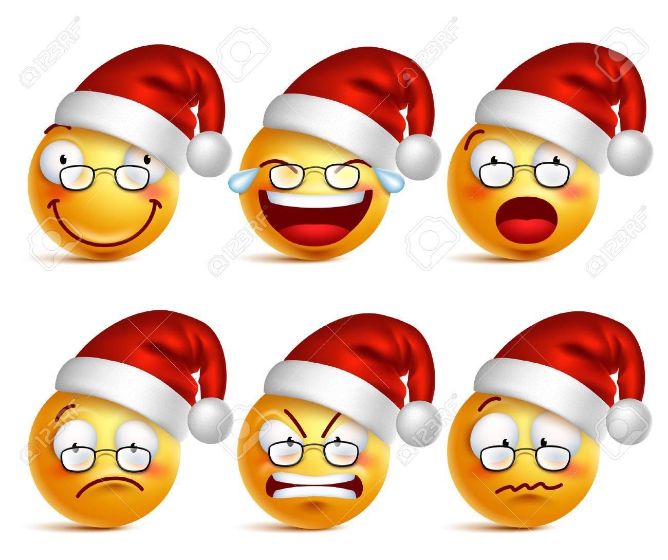 Smiley Gesicht Von Santa Claus Gelb Emoticons Mit Einem Satz Von ...