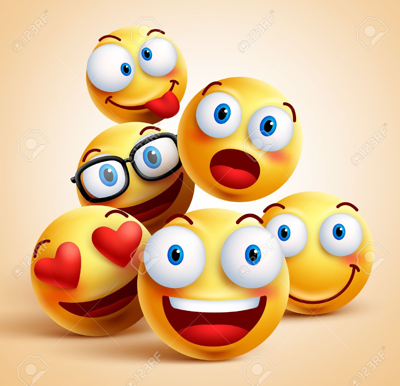 smiley faces group of vector emoticon characters with funny facial