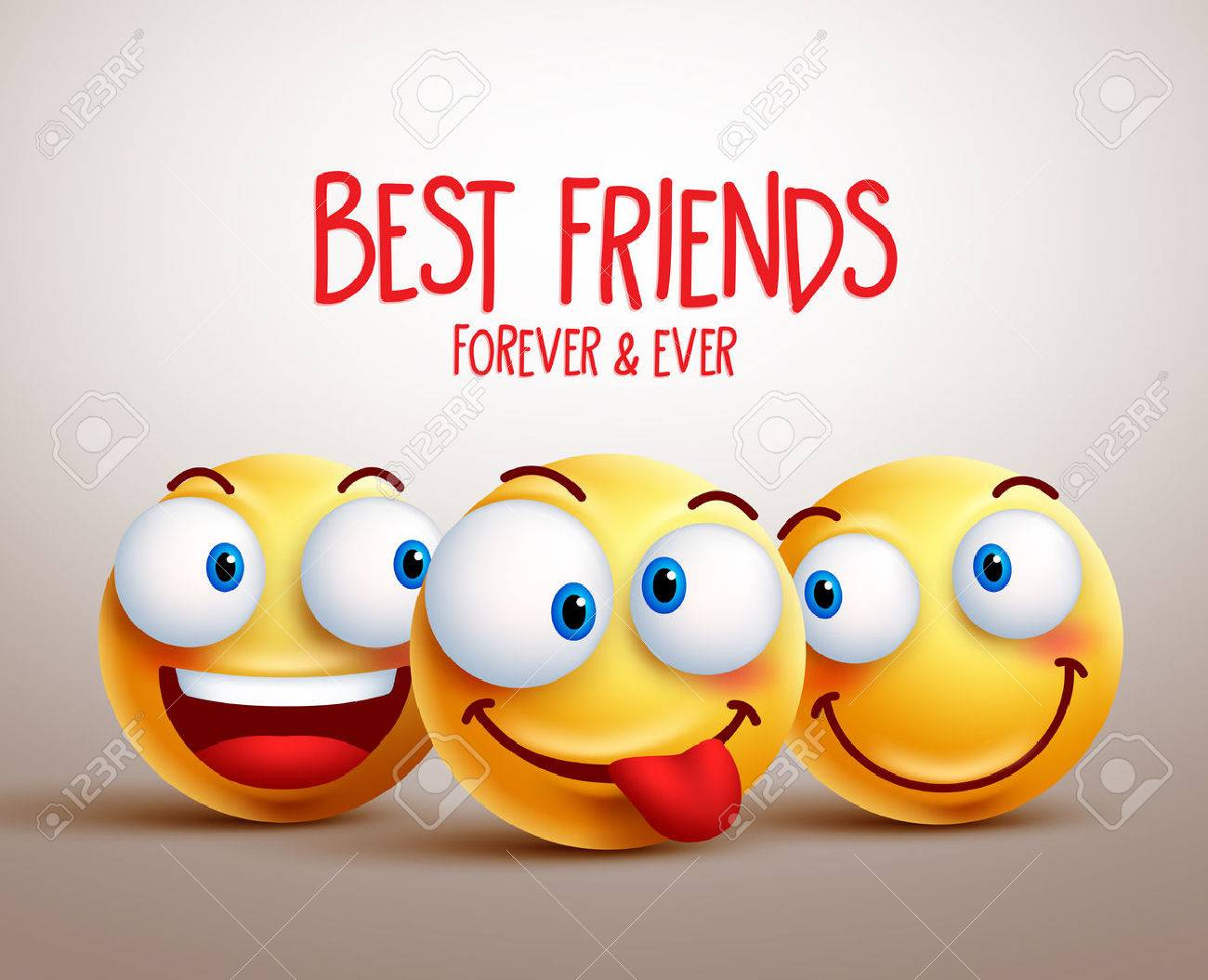 Best Friends Smiley Face Vector Design Concept With Funny Facial