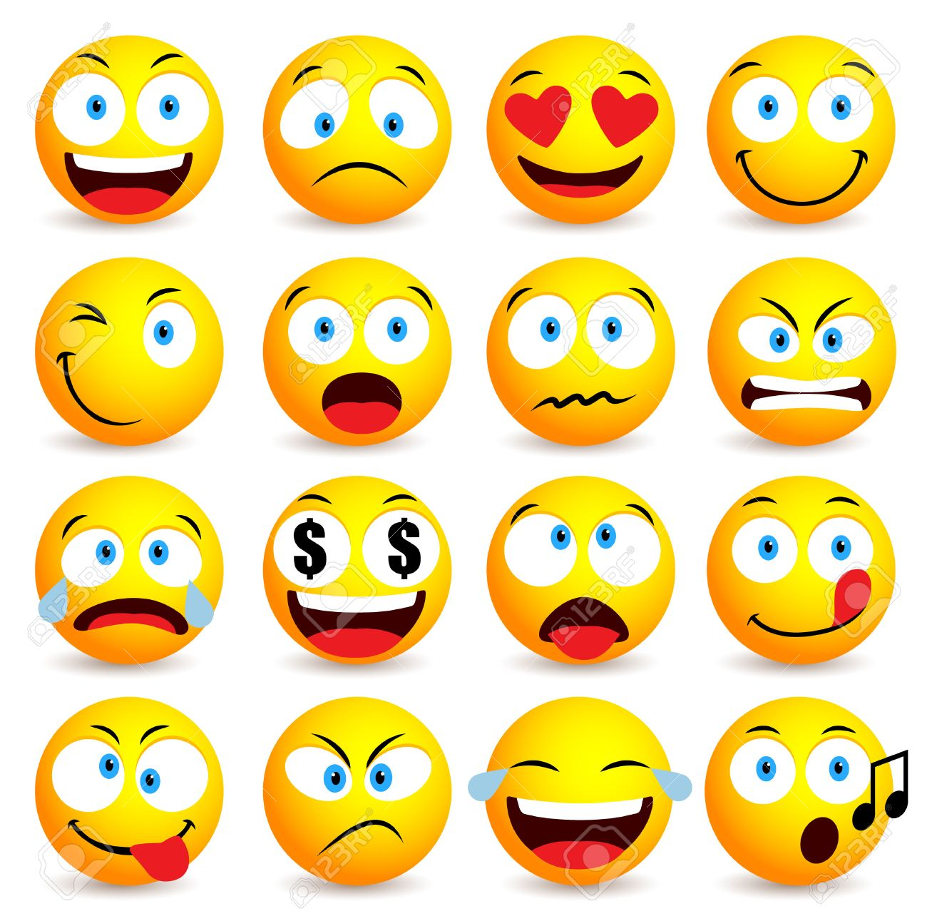Smiley face and emoticon simple set with facial expressions isolated in white background. Vector illustration - 57112986