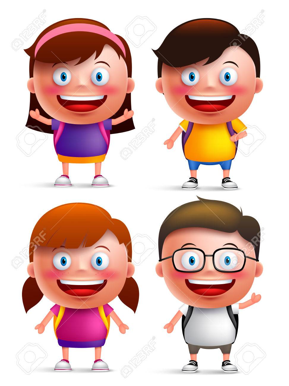 Kids students vector characters set with happy faces and hand gestures wearing backpacks for back to school isolated in white background. Vector illustration - 57859991
