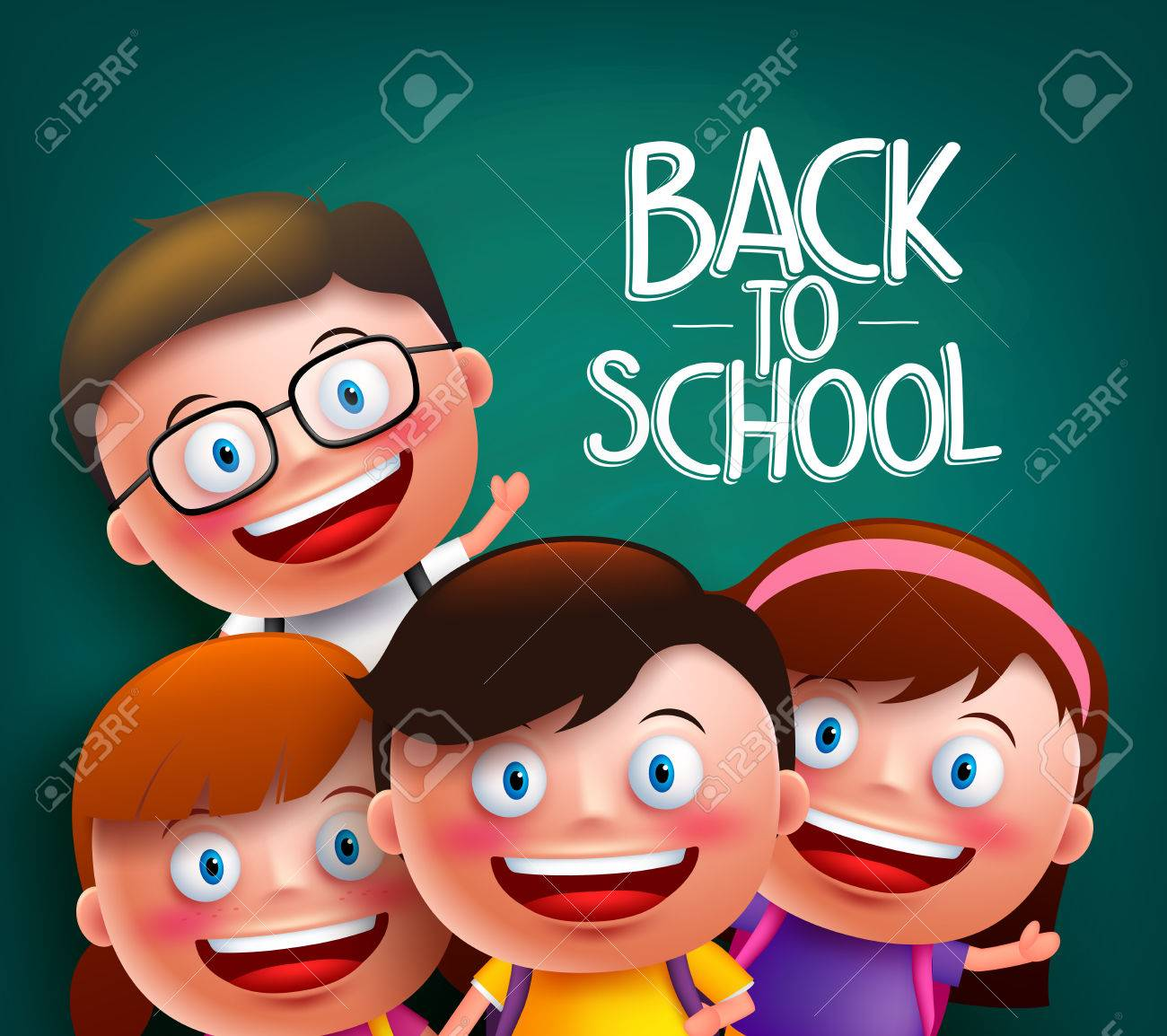 classmates kids vector characters with smart happy faces for