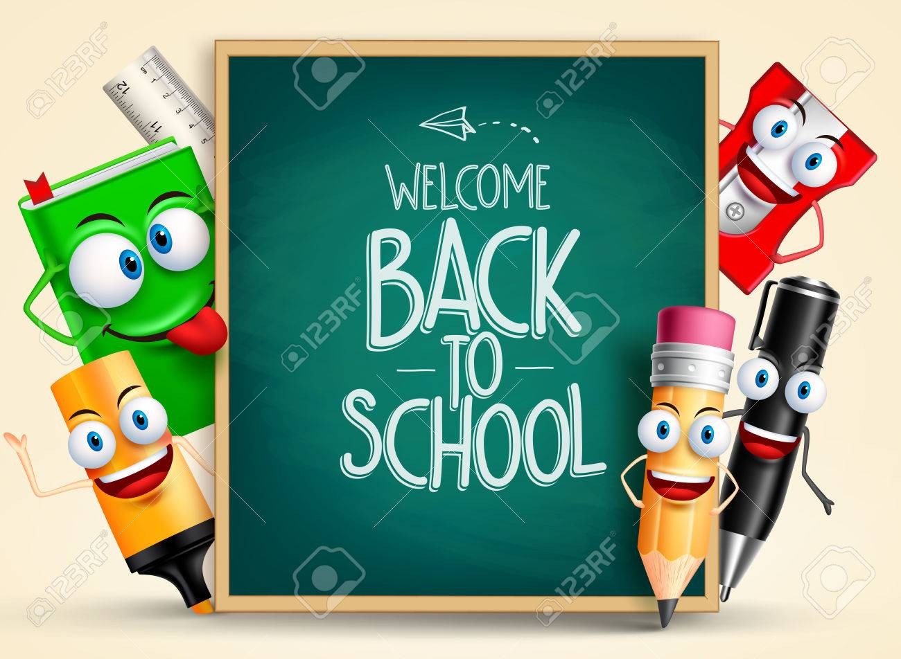 School vector characters of funny pencil, pen, sharpener and other school items holding blackboard with back to school writing. Vector illustration - 57976220