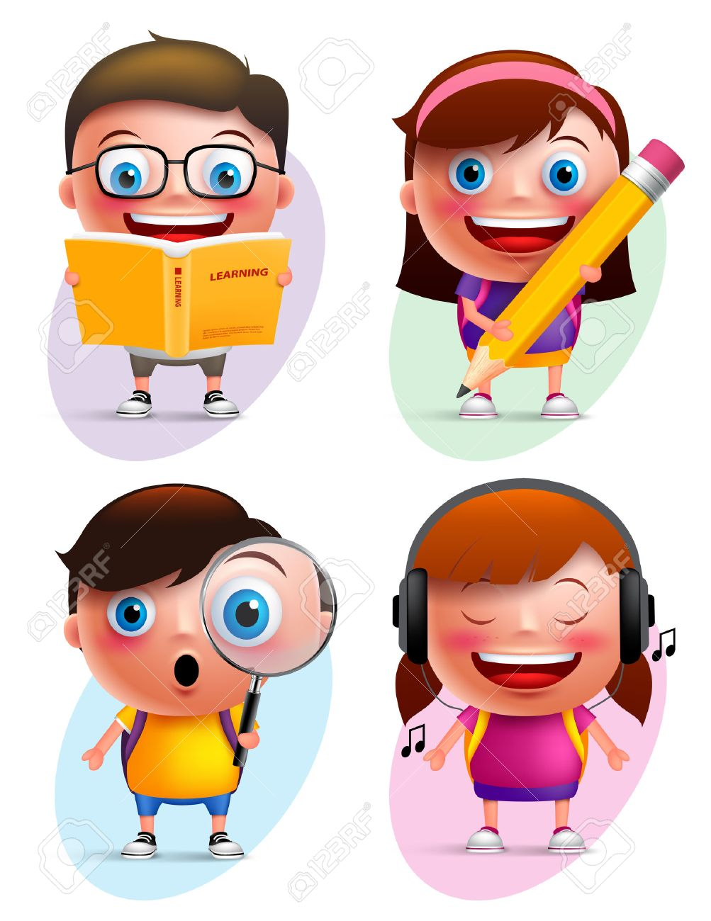 Funny kids vector characters colorful collection reading book, writing, exploring and listening music isolated in white background. Vector illustration - 58331612