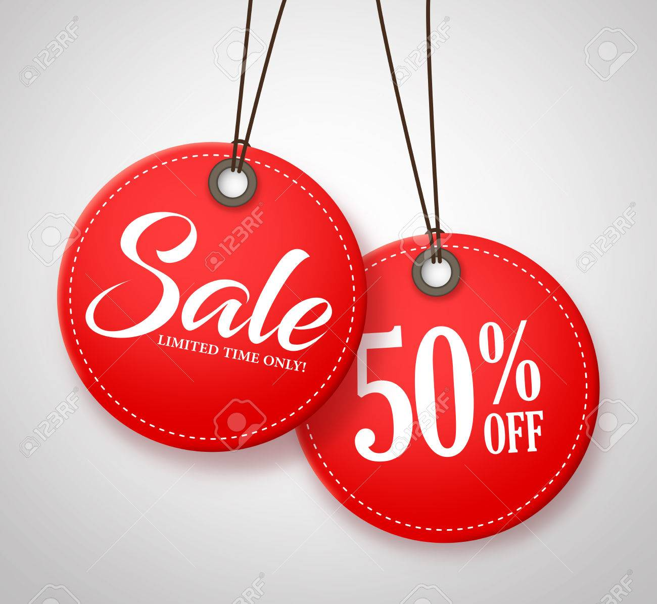 Circle Sale Tags Design with Half Price Text in Red Color Hanging in White Background. Vector Illustration. - 59493005