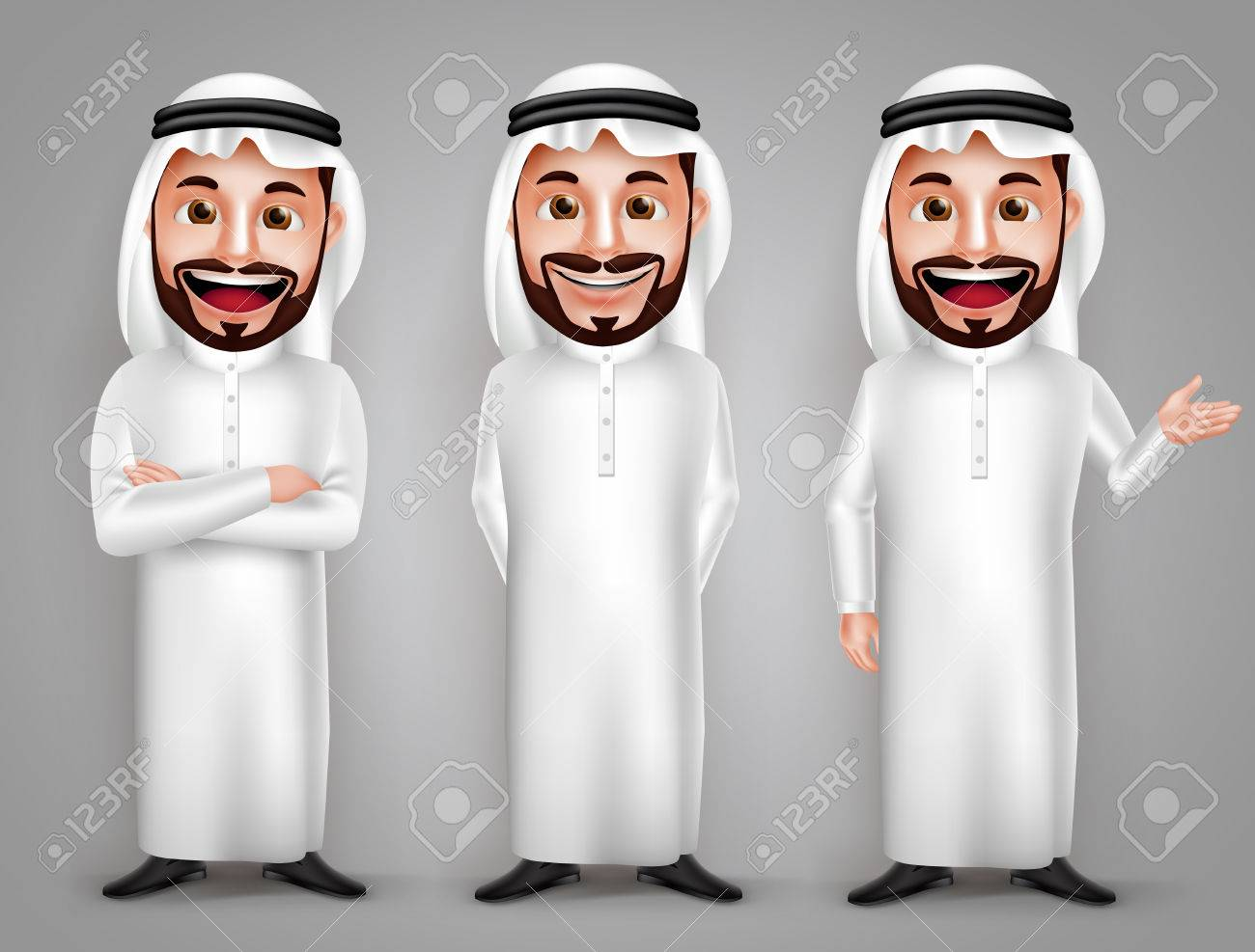 Saudi arab man vector character set with different friendly gesture and professional pose for business purpose. Vector illustration. - 60507547
