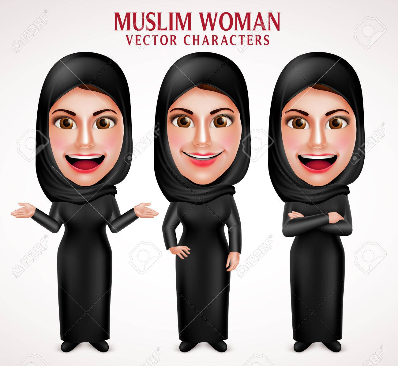 Muslim woman vector characters set wearing hijab black clothes with different pose and hand gestures in white background. Vector illustration. - 61269841