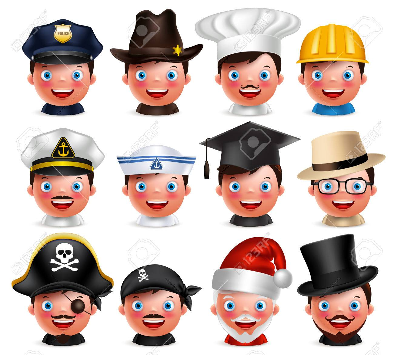 Profession avatar set of happy emoticon heads with different hats of police, seaman, magician, santa claus and pirate isolated in white background. Vector characters. - 61890486