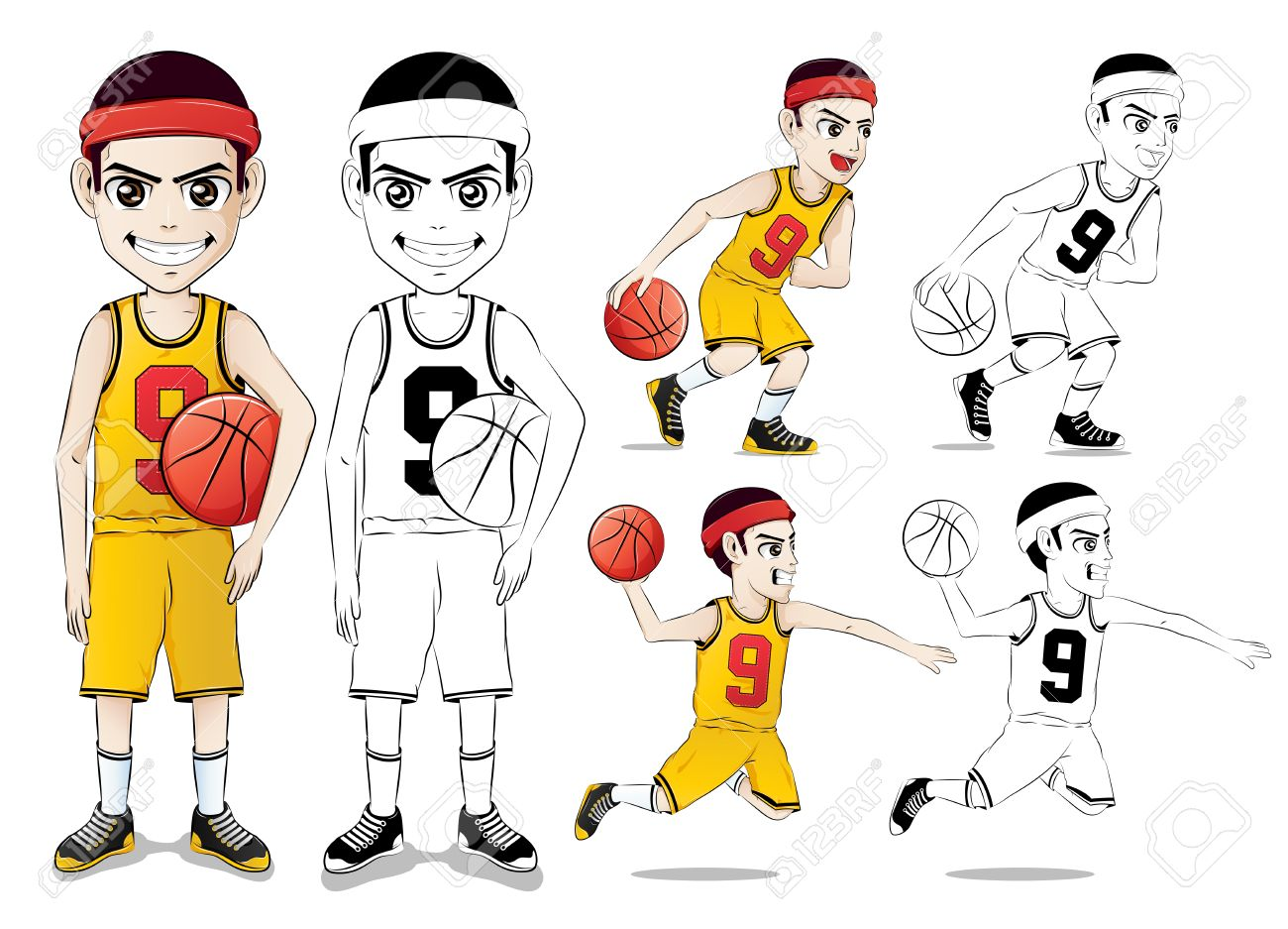 de6a50fa131 Basketball Player Vector Character Set with Line Drawing Version Wearing  Yellow Jersey Number Nine in Isolated