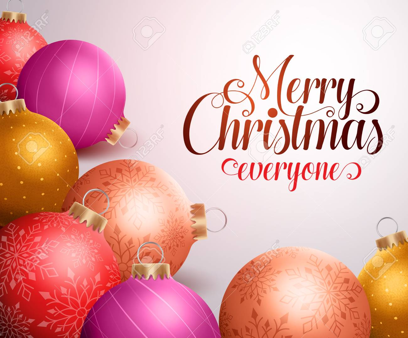 Colorful Christmas Background Design.Merry Christmas Background Design With Colorful Christmas Balls