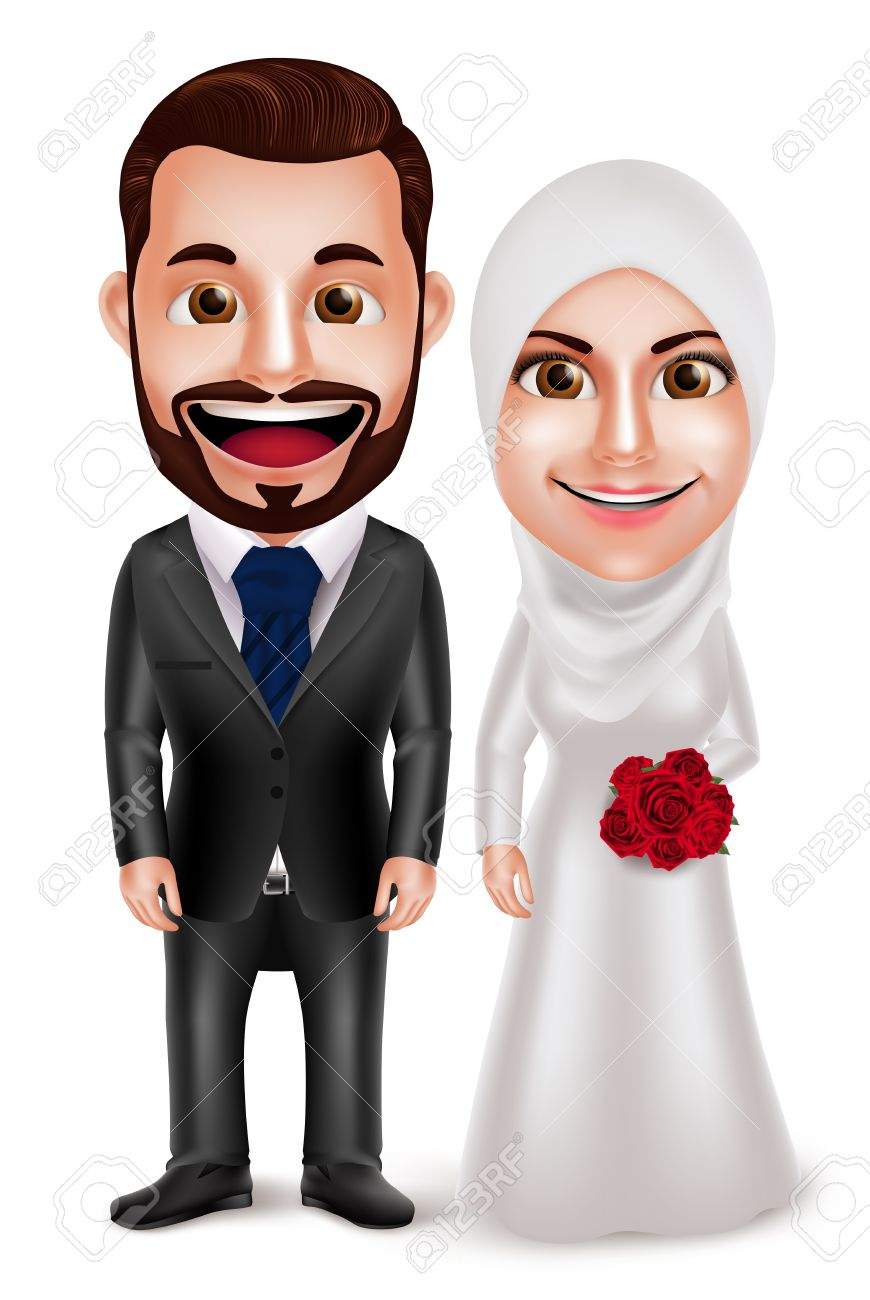 muslim couple vector characters as bride and groom wearing hijab