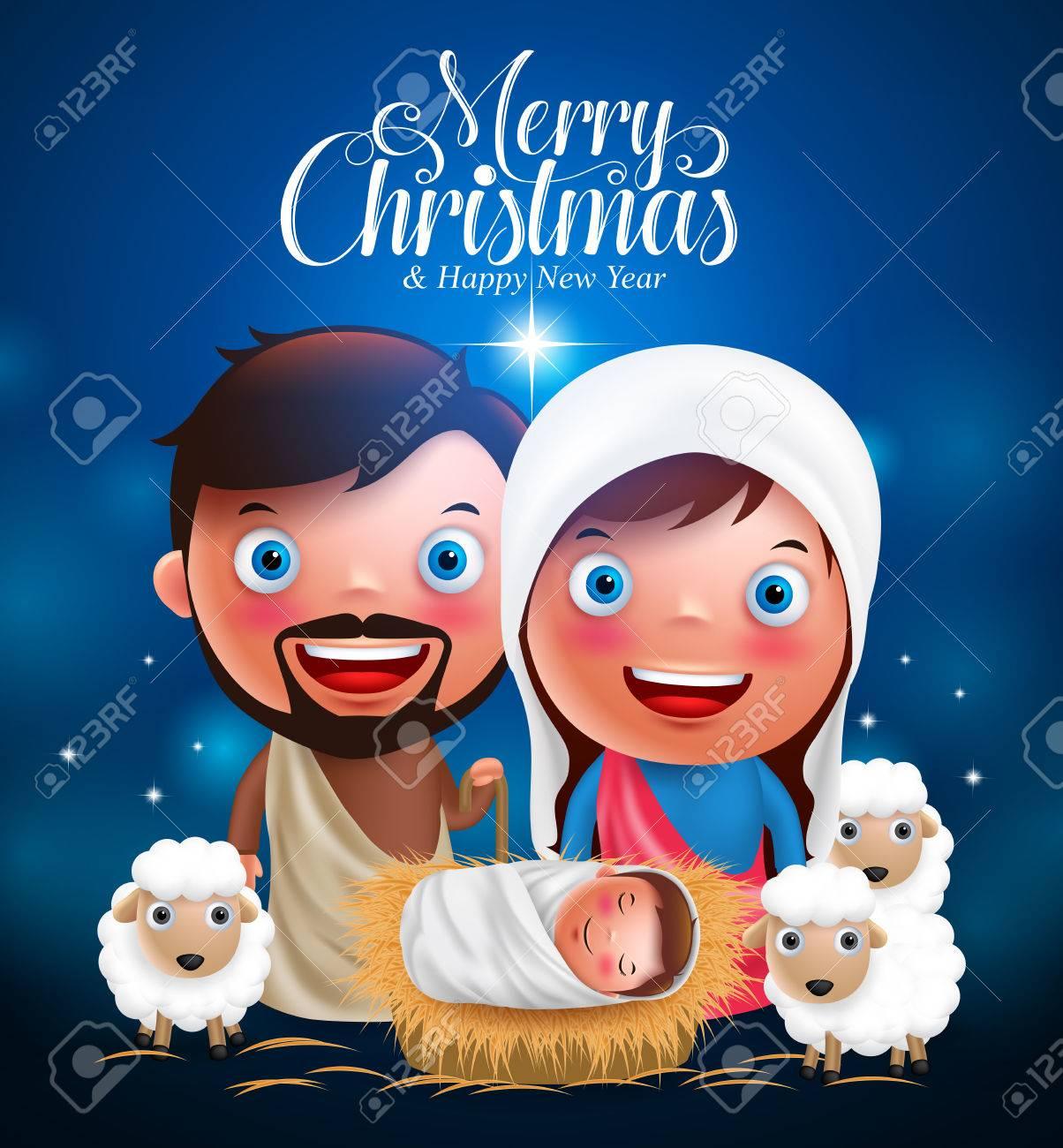 Fotos De Navidad Con Jesus.Saludos Feliz Navidad Con Jesus Nacido En Belen Pesebre Con Jose Y Maria Vector Personajes De La Noche De Navidad Ilustracion Vectorial