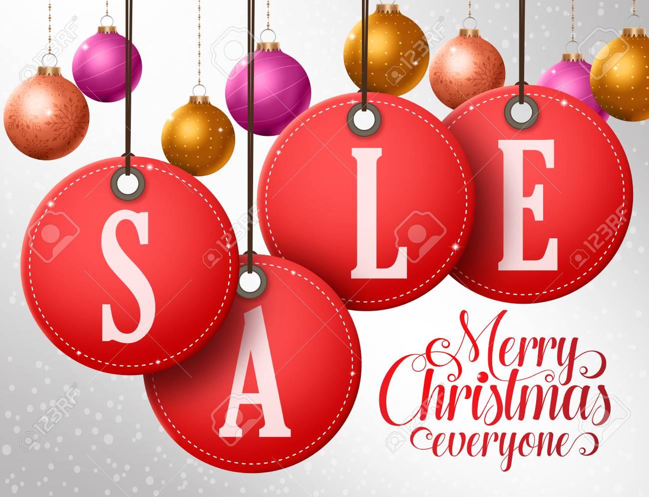 218764c5b3c Diseño de vector de venta de Navidad en colgar etiquetas rojas de venta con  bolas de