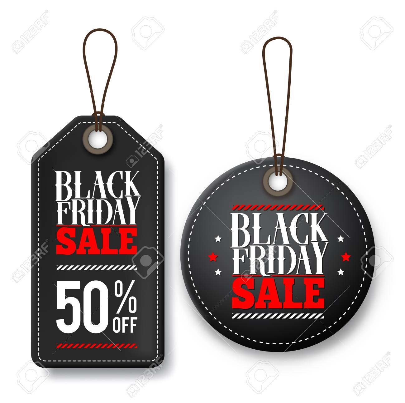 black friday sale vector price tags for discount promotions with