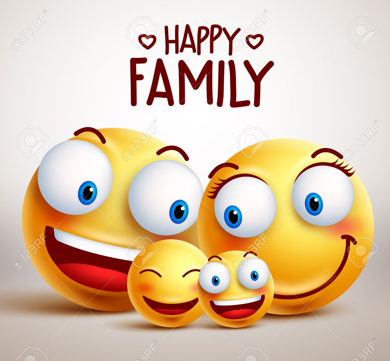 Happy family smiley face characters with father, mother and children bonding together while smiling. illustration. - 65999706