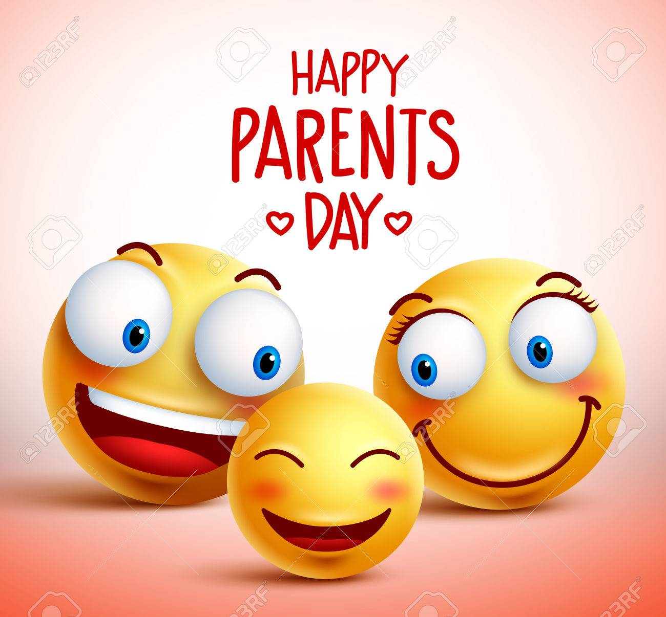 family of smiley faces characters for happy parents day design