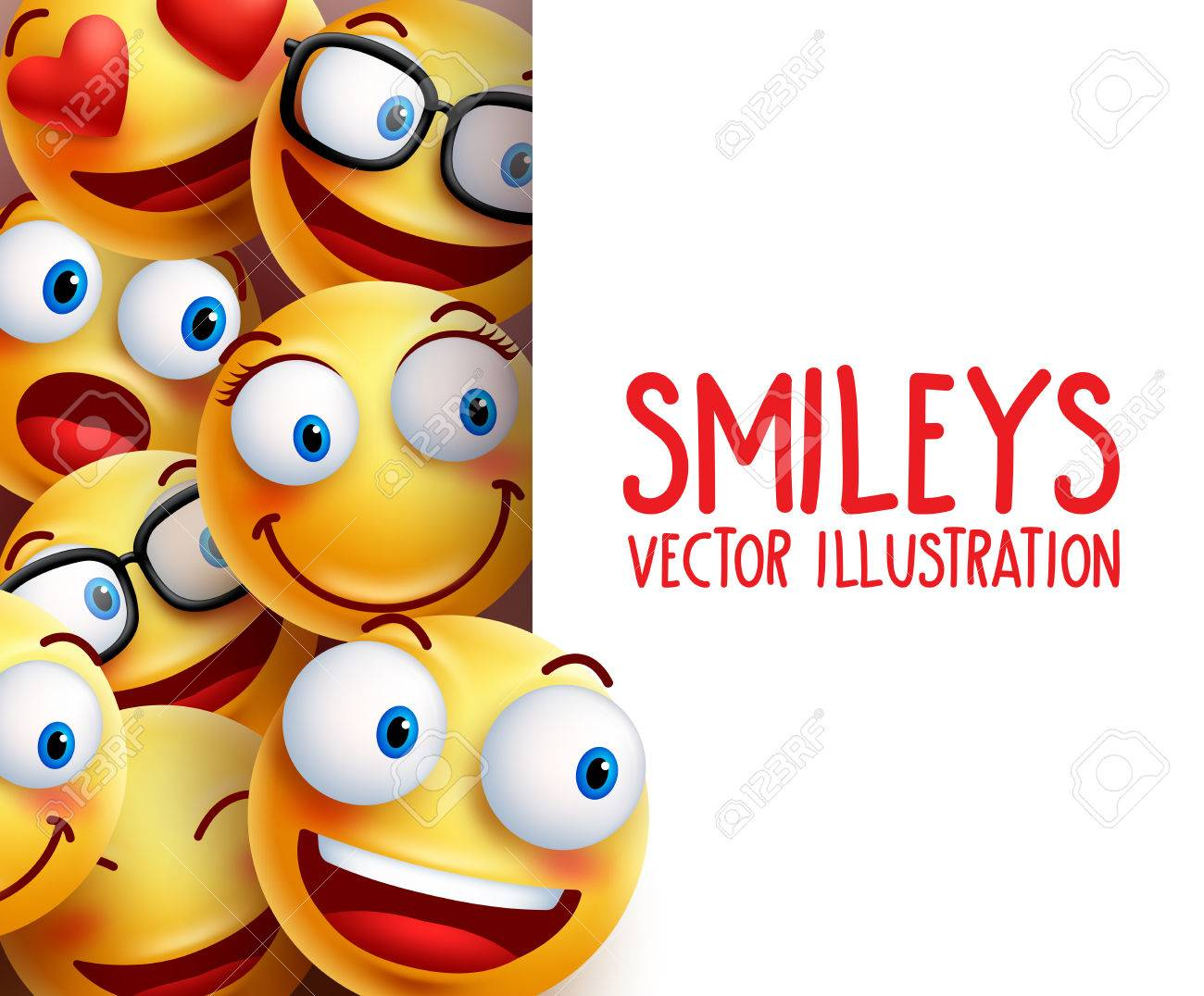Funny smiley face characters happy smiling in the background with empty white board space for text. illustration. - 65999716