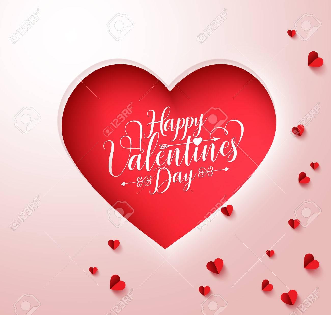 Feliz Dia De San Valentin Texto De La Tipografia En El Corazon De - Corazones-de-decoracion