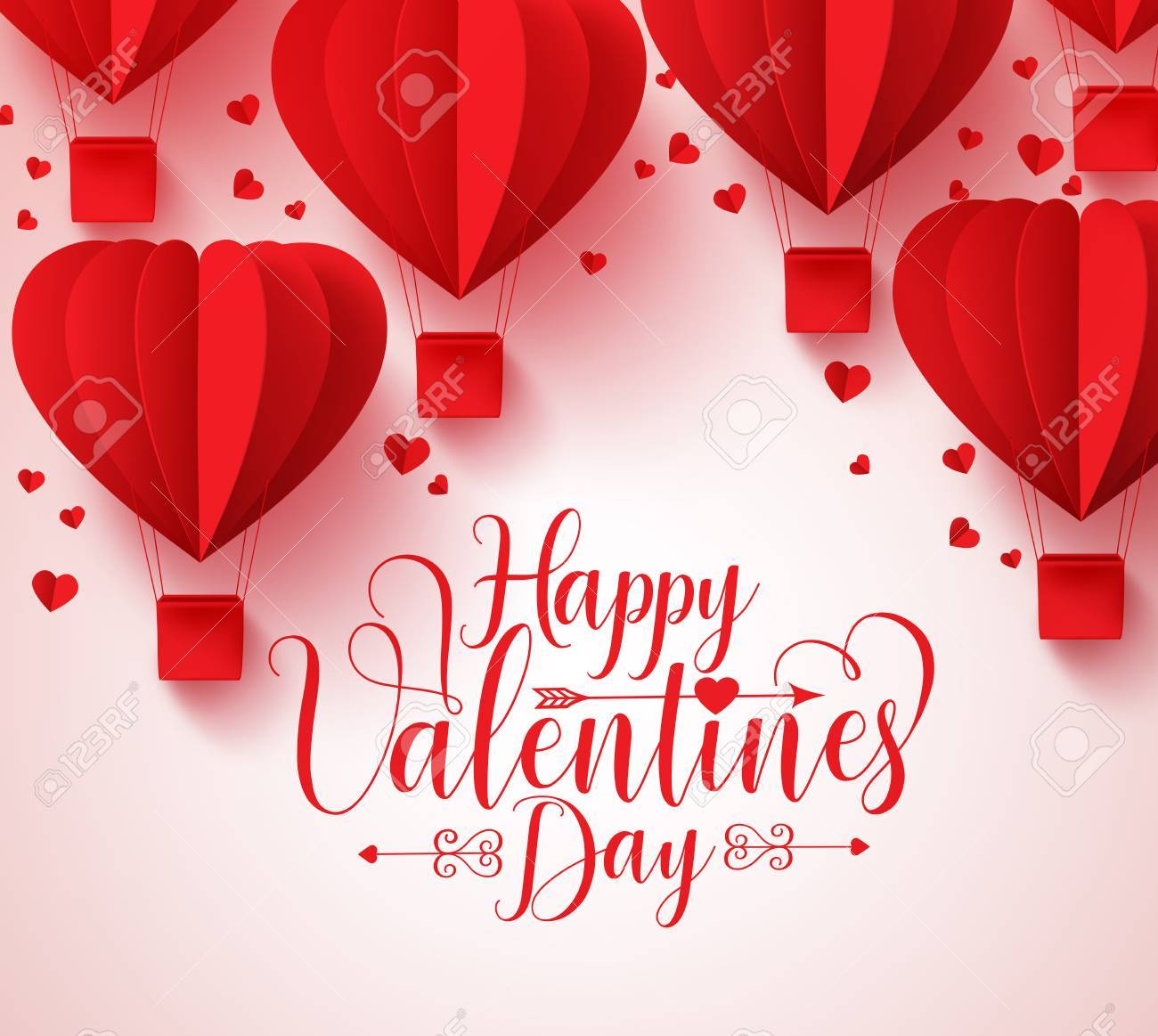 Happy valentines day vector greetings card design with paper happy valentines day vector greetings card design with paper cut red heart shape hot air balloons m4hsunfo