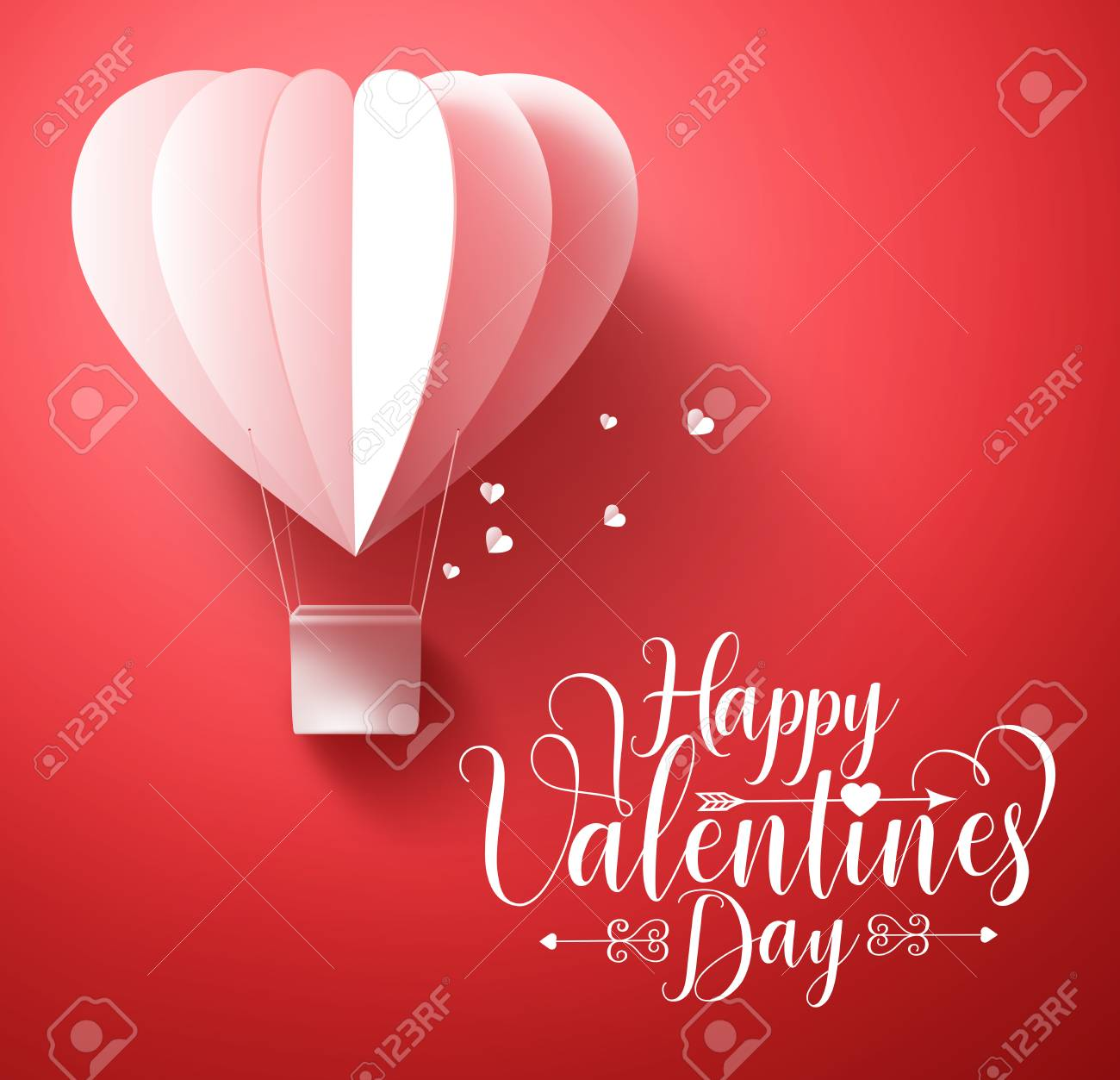 Happy valentines day vector greetings card design with 3d realistic happy valentines day vector greetings card design with 3d realistic paper cut heart shape flying balloon m4hsunfo