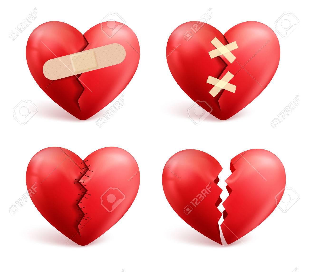 Broken hearts vector set of 3d realistic icons and symbols in broken hearts vector set of 3d realistic icons and symbols in red color with wound biocorpaavc