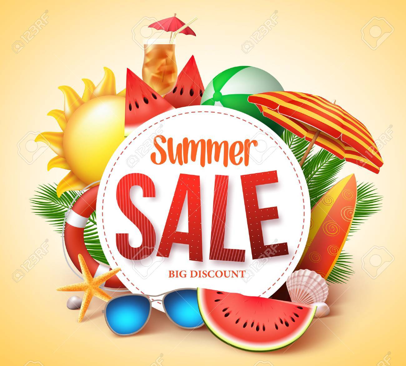 Summer sale vector banner design for promotion with colorful beach elements behind white circle in yellow background. Vector illustration. - 72205253
