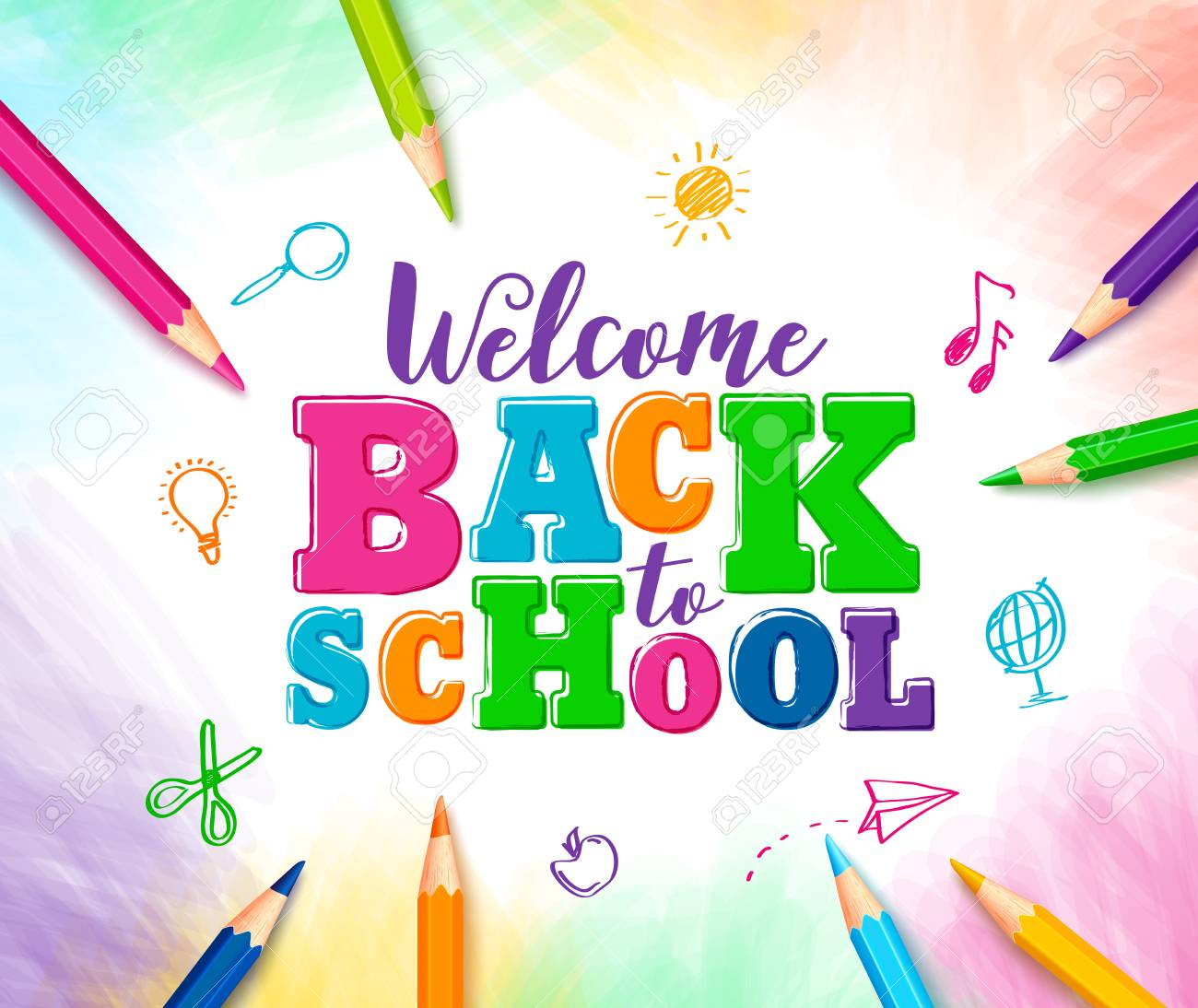 Welcome Back To School Vector Design With Colorful Text And Drawings.. Royalty Free Cliparts, Vectors, And Stock Illustration. Image 75457023.