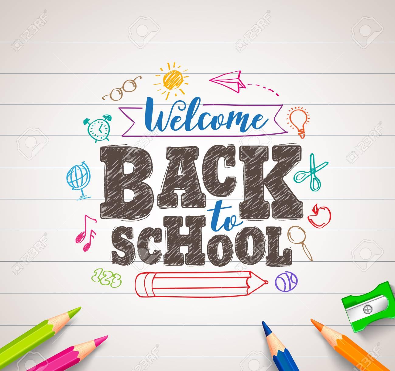 戻る学校ベクトル カラフルなクレヨンで着色ペンと要素のホワイト