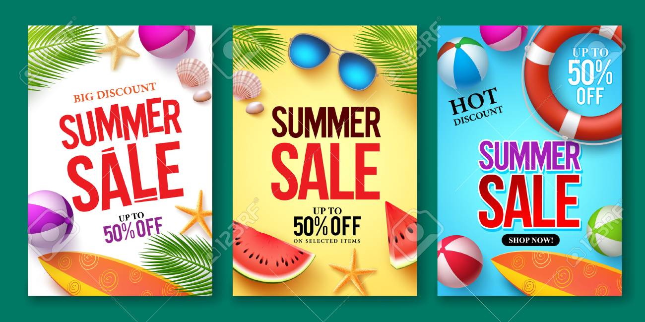 Summer sale vector poster set with 50% off discount text and summer elements in colorful backgrounds for store marketing promotion. Vector illustration. - 76781767