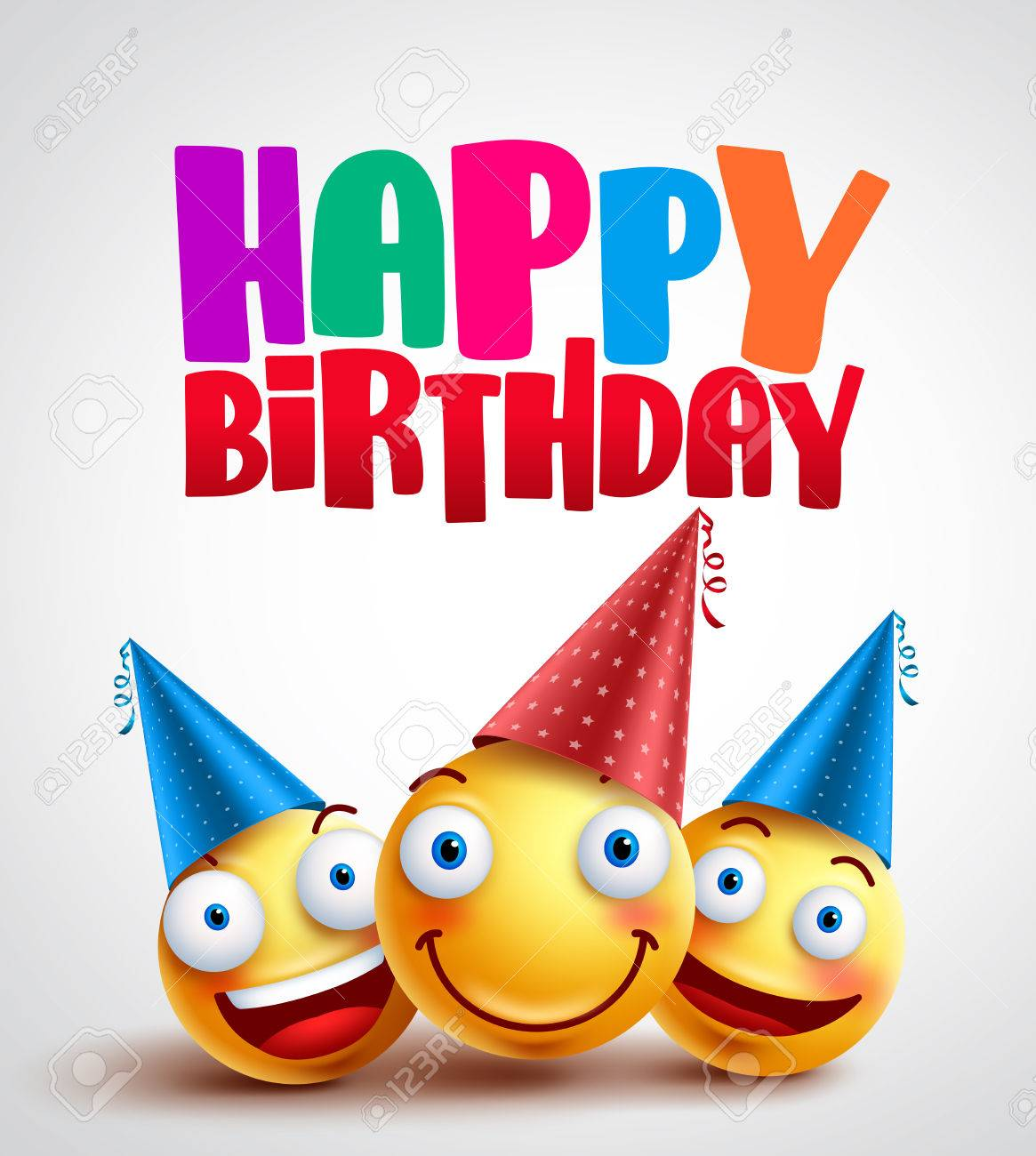 Happy Birthday Smileys Celebrant With Happy Friends Funny Vector Royalty Free Cliparts Vectors And Stock Illustration Image 77698422