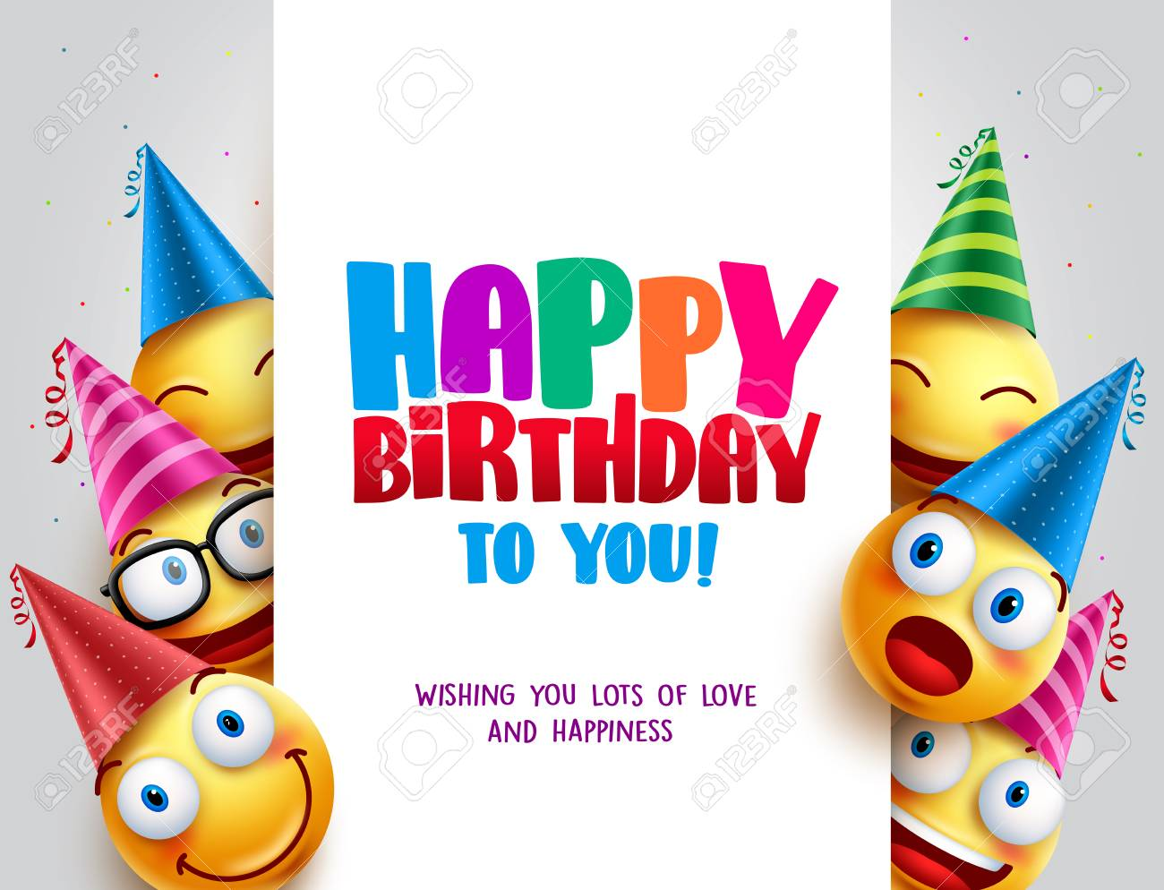 Happy birthday vector design with smileys wearing birthday hat in white empty space for message and text for party and celebration. Vector illustration. - 102969558