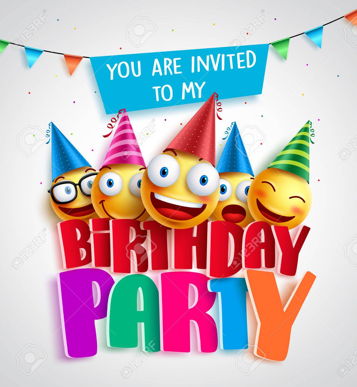 Birthday Party Invitation Vector Design With Happy Smileys Wearing Colorful Hats In 3D Text