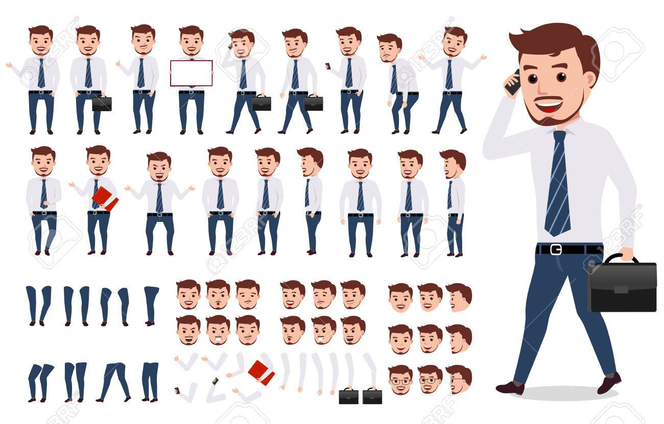 Business man character creation set. Male vector character walking and calling wearing formal office attire with gestures, poses and faces isolated in white. Vector illustration. - 79993618
