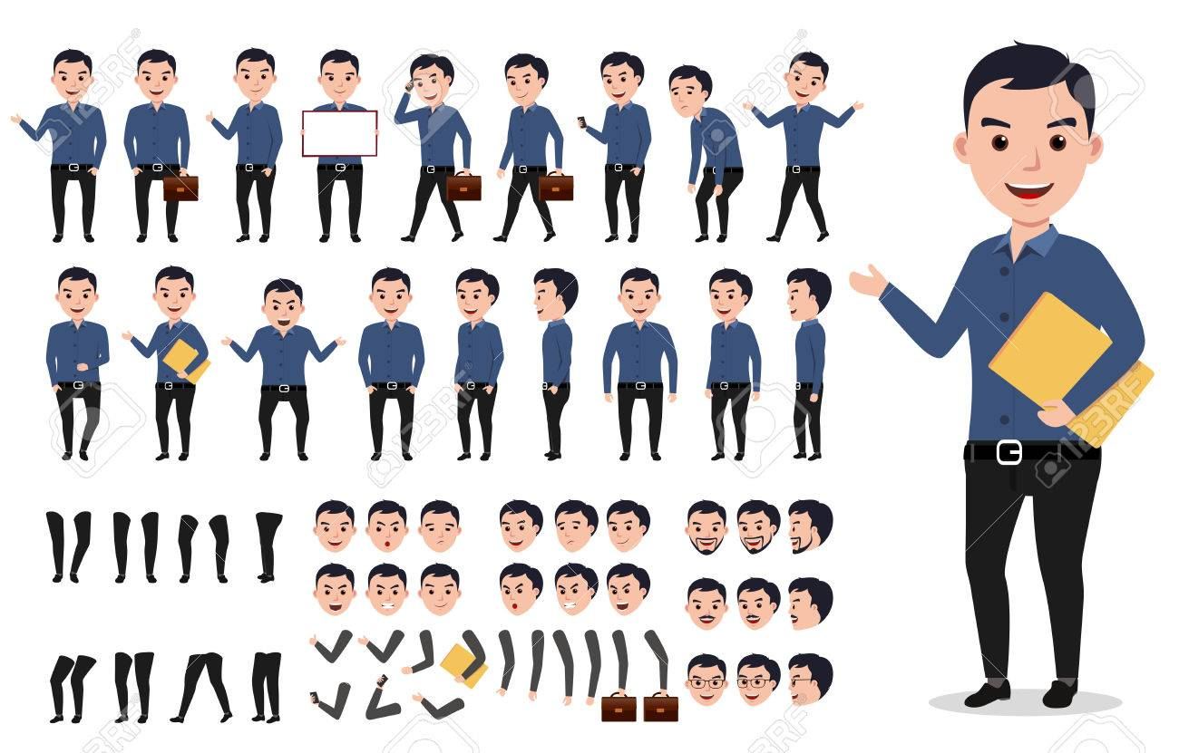 Businessman or male vector character creation set. Professional man holding folder with poses, gestures and emotions isolated in white. Vector illustration. - 79993617