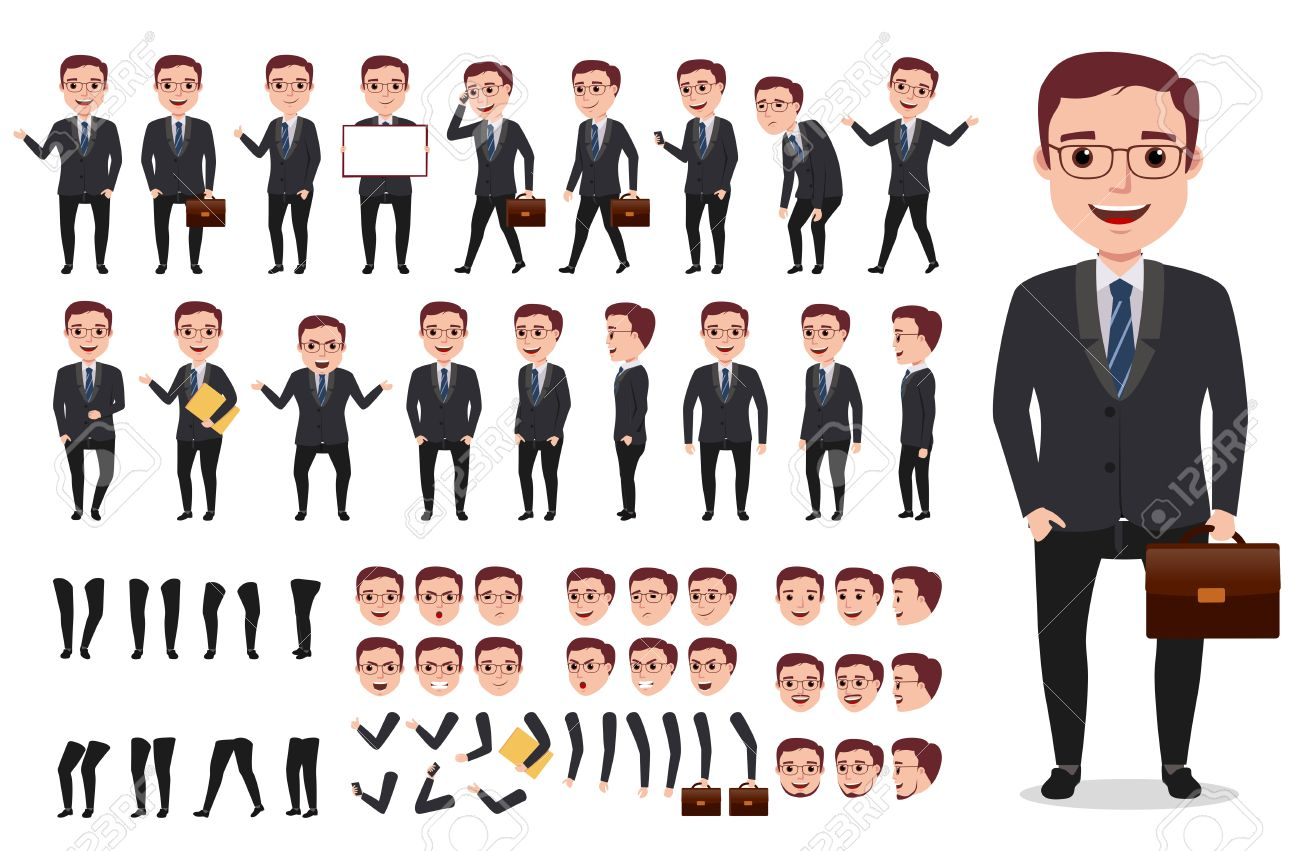 Businessman or office male vector character creation kit  Set