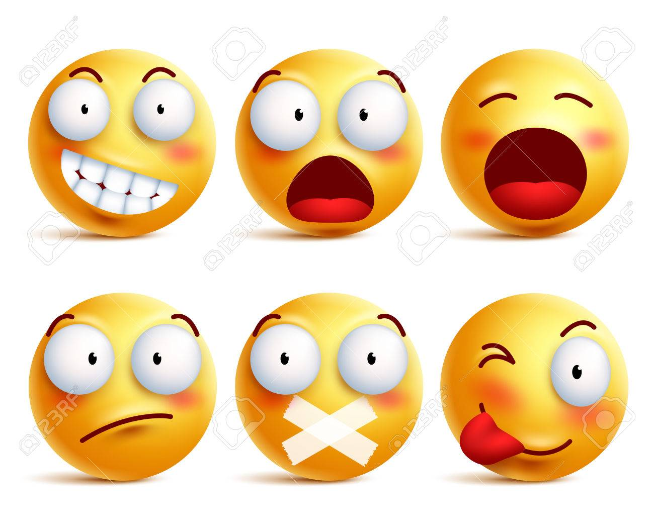 Smileys vector set. Smiley face icons or emoticons with facial expressions and emotions in yellow color isolated in white background. Vector illustration. - 81690491