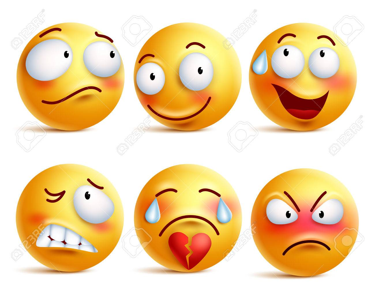 Smileys vector set. Smiley face or yellow emoticons with facial expressions and emotions like happy