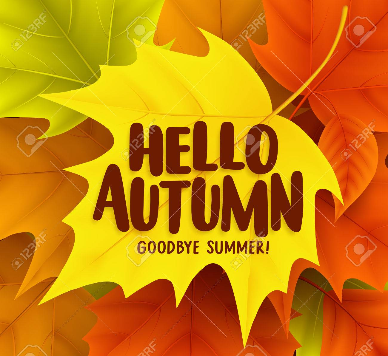 Hello autumn greetings vector design with yellow maple leaf and hello autumn greetings vector design with yellow maple leaf and a background of colorful fall season m4hsunfo Image collections