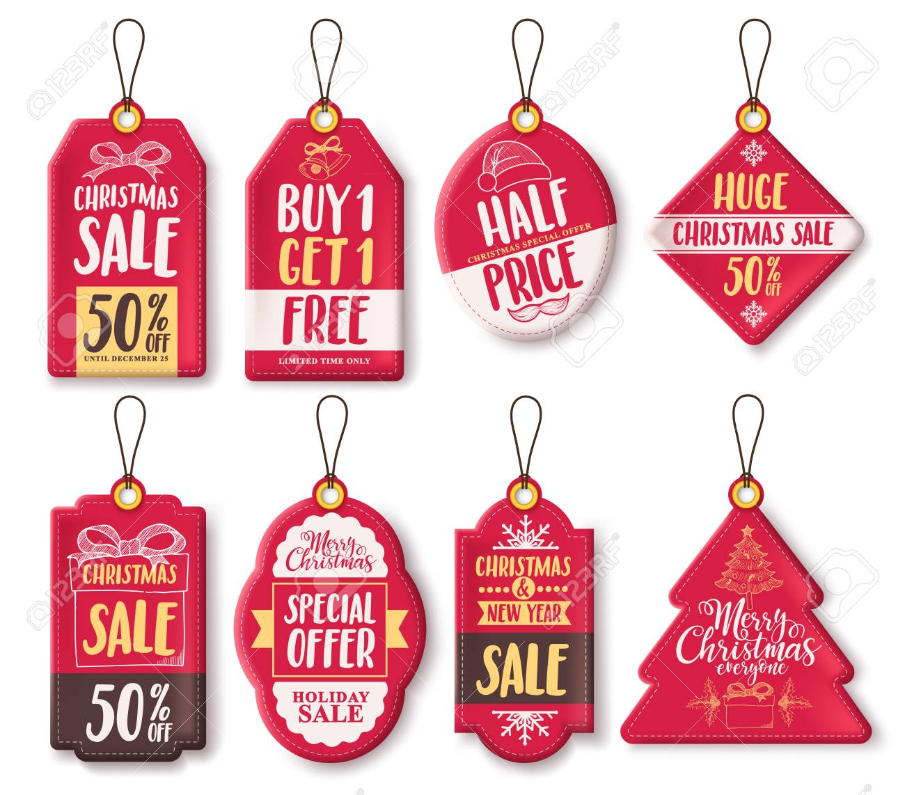 Christmas Sale Tags Vector Set With Different Shapes And Discount