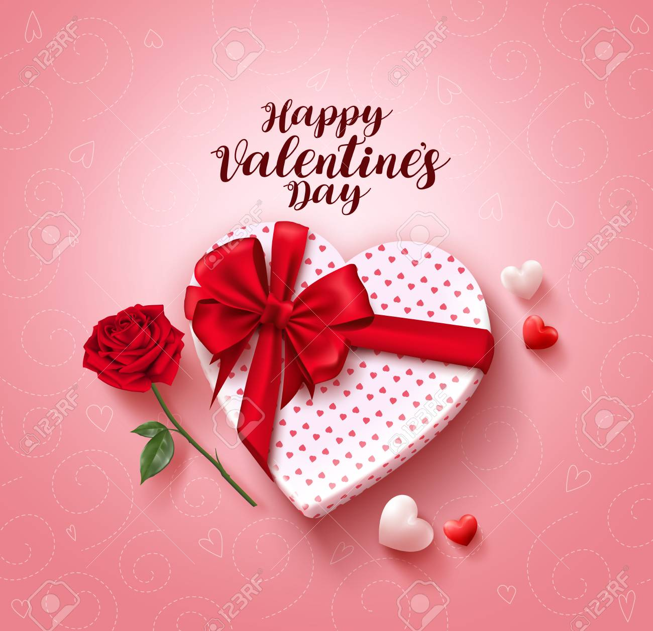 Happy Valentines Day Greeting Card Vector Design With Love Gift