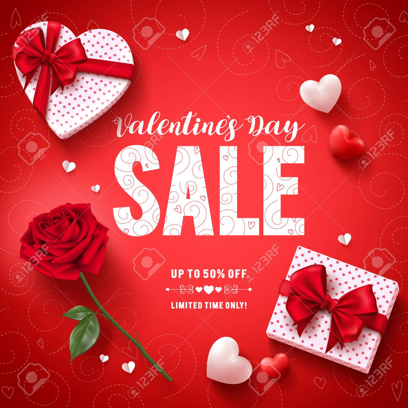 Valentines Day Sale Text Vector Banner Design With Love Gifts