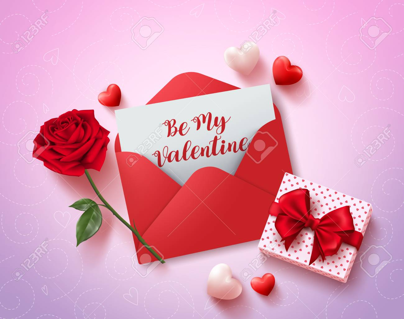 Be My Valentines Greeting Card Vector Design With Red Love Letter