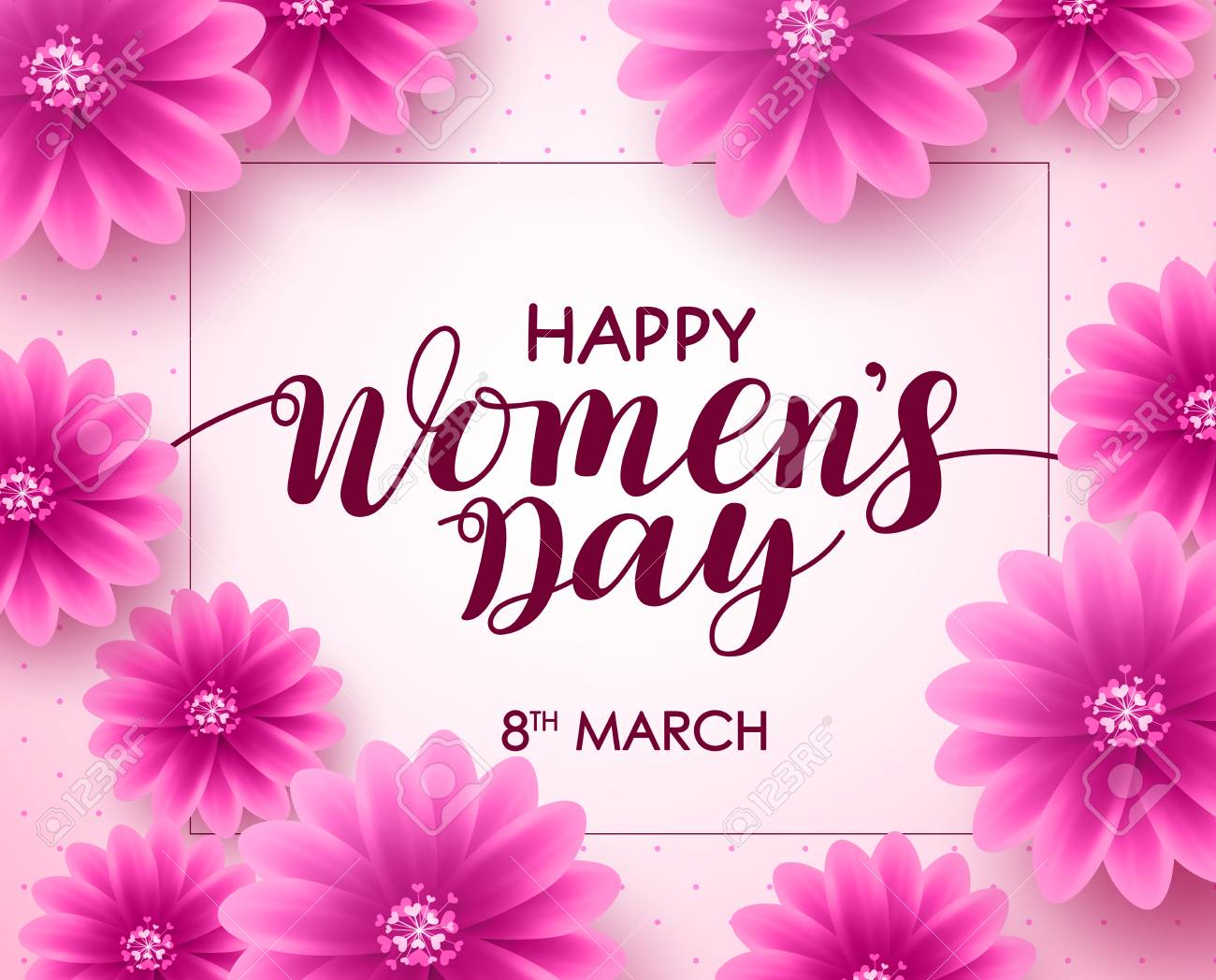 Happy Womens Day Vector Background Design With March 8 Text