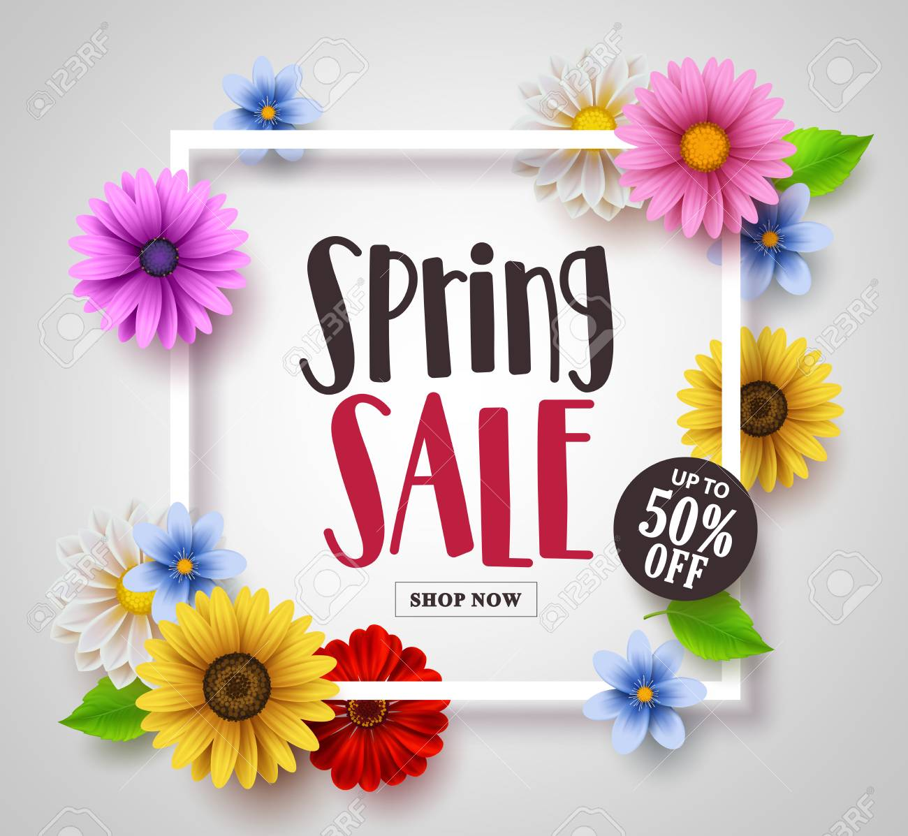 Spring sale vector banner design with colorful daisy sunflower spring sale vector banner design with colorful daisy sunflower and floral elements and a frame izmirmasajfo Images