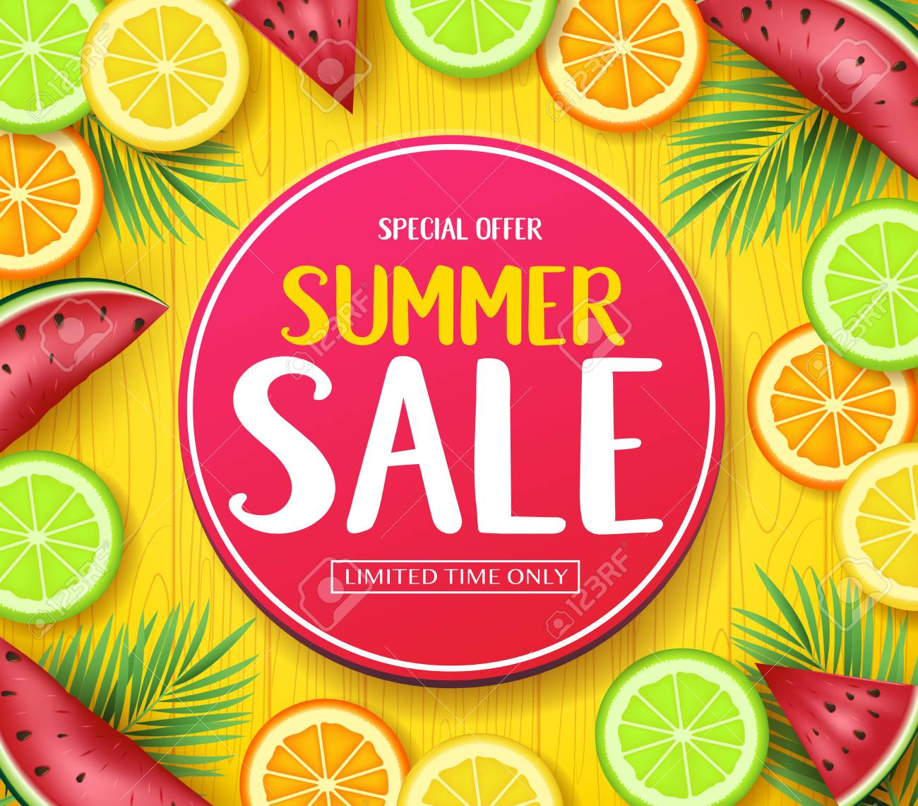 Special Offer Summer Sale in Circle Tag Poster with Tropical