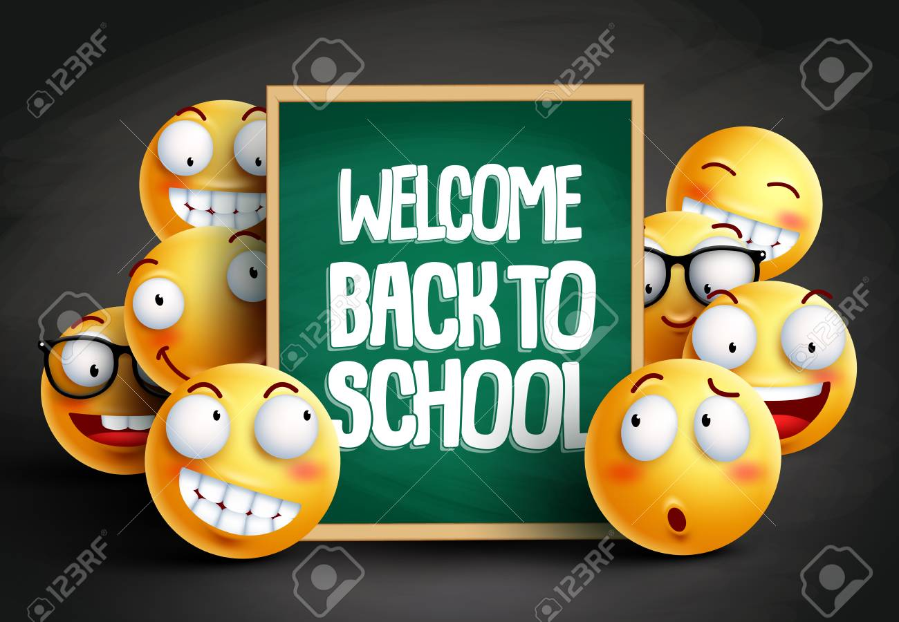 Smileys Yellow Emoticons In Welcome Back To School Vector Design