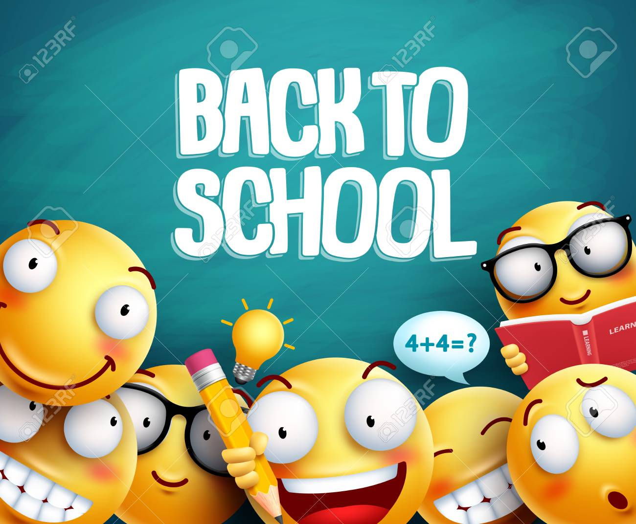 Back to school smileys vector design. Yellow student emoticons with facial expressions studying in green blackboard background for education. Vector illustration. - 99199130